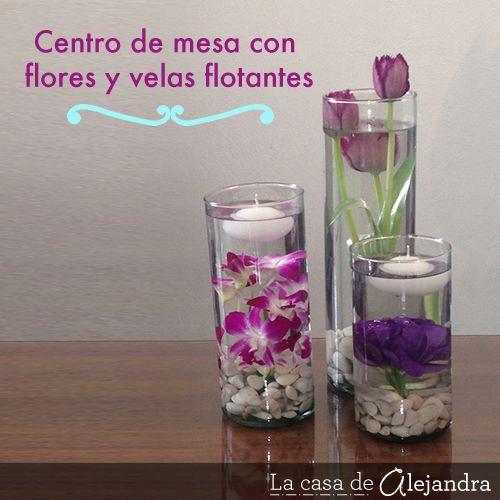 La casa de Alejandra Centro de mesa con flores y velas flotantes - centros de mesa para boda con velas flotantes