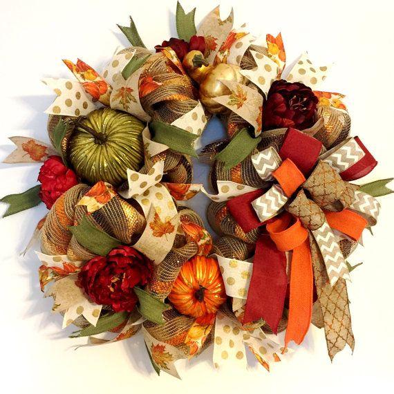 Harvest Pumpkin Wreath Decorative Autumn Fall Burlap Mesh Decor