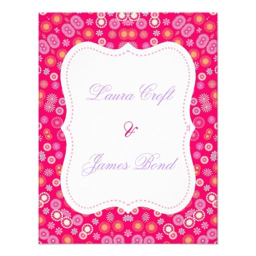 Pretty Multicolored Ditsy Flower Pattern on a pink background lovely wedding invitations