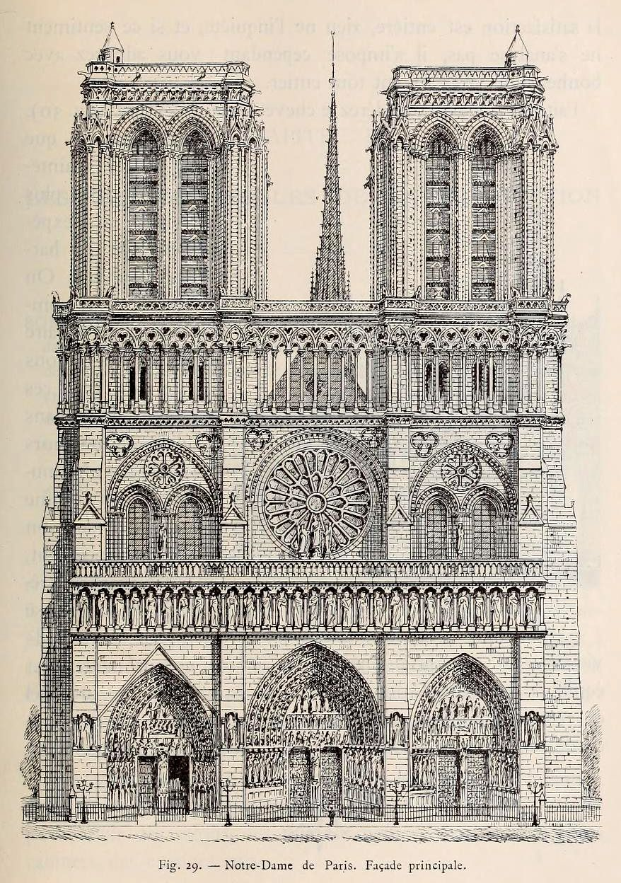 front elevation of notre dame cathedral paris drawing architecture pinterest notre dame. Black Bedroom Furniture Sets. Home Design Ideas