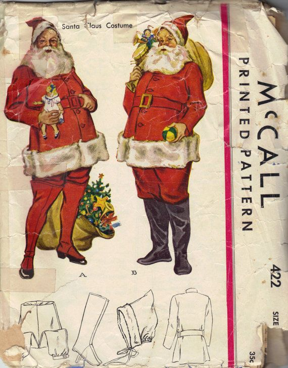 McCall Sewing Pattern 1930s Santa Claus Suit Costume Christmas ...