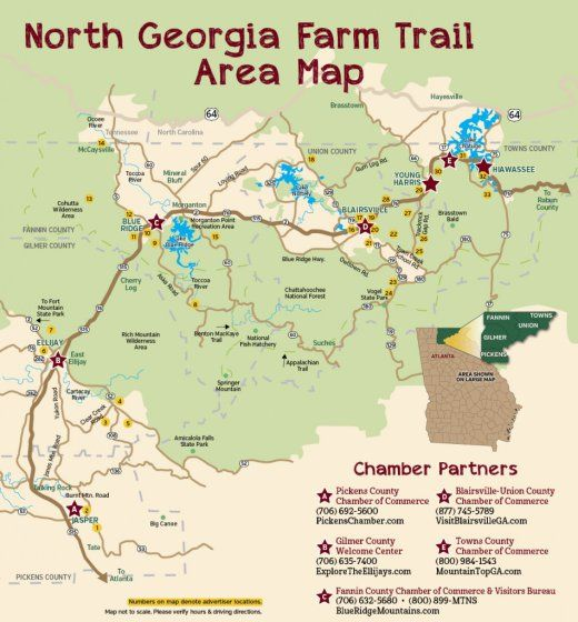 Map Of North Georgia Mountain Towns.North Georgia Farm Trail Map With Images North Georgia