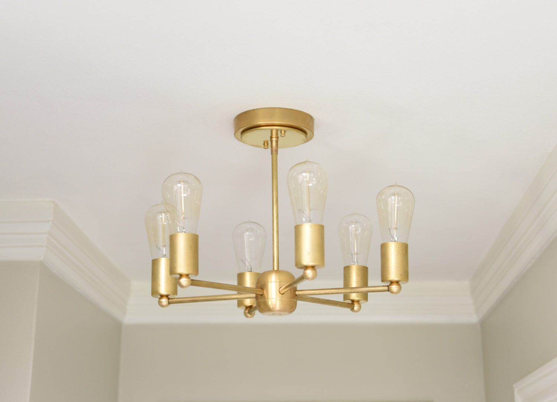 Modern chandelier gold 6 arm pinwheel bulb brass sputnik mid modern chandelier gold 6 arm pinwheel bulb brass sputnik mid century semi flush edison industrial hanging aloadofball Images