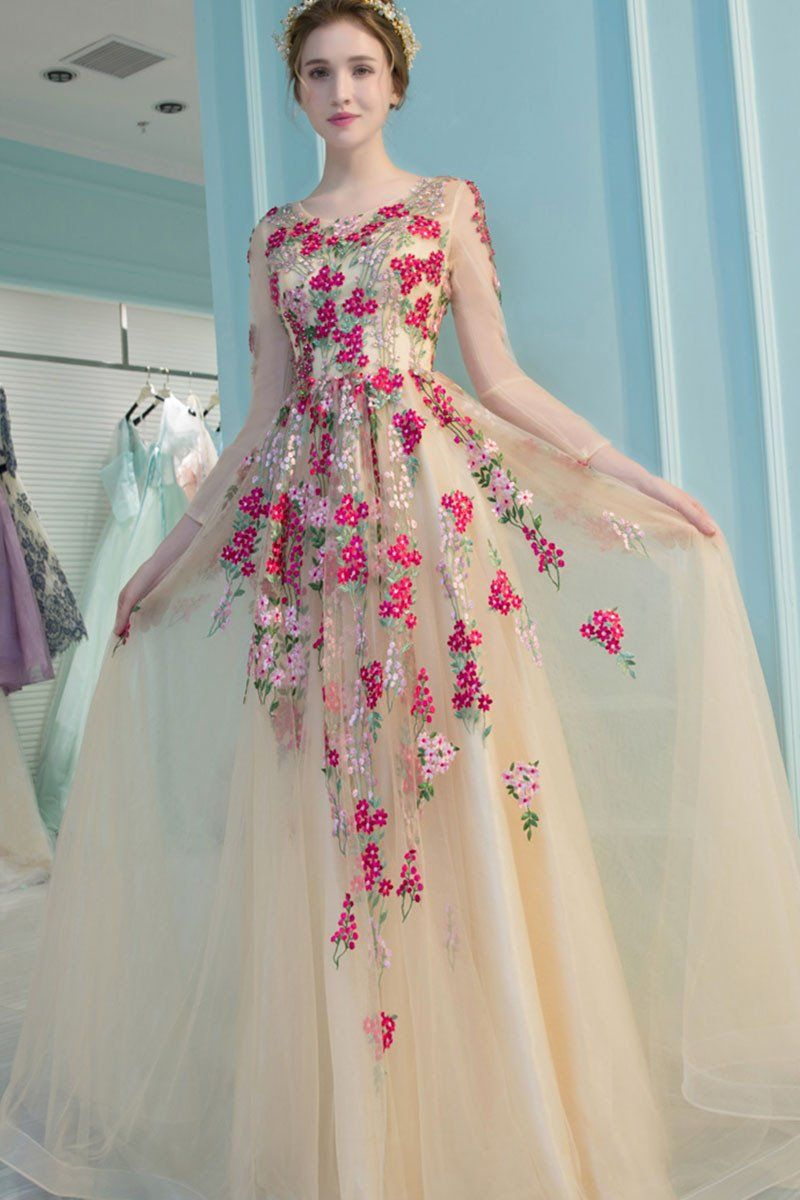 Champagne tulle applique long prom dress, champagne evening dress ...