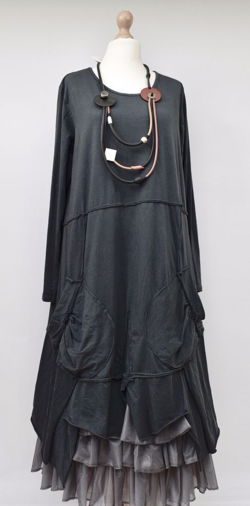"""LAGENLOOK LINEN OVERSIZED LAYERING PLAIN BALLOON DRESS*CHARCOAL*BUST UP TO 50/"""""""