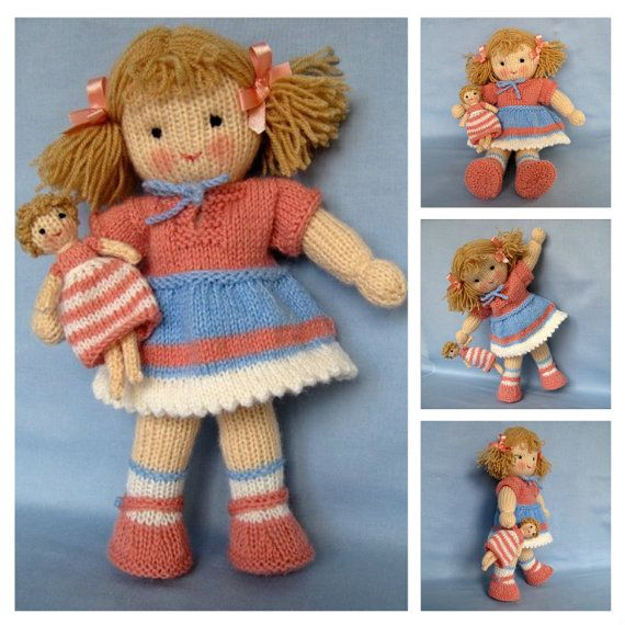 Lulu And Little Doll Knitting Pattern Instant Download Pinterest