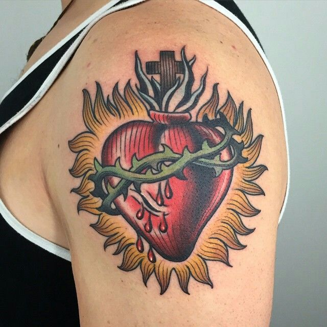 sacred heart tattoo traditional and neo traditional pinterest sacred heart tattoo and. Black Bedroom Furniture Sets. Home Design Ideas