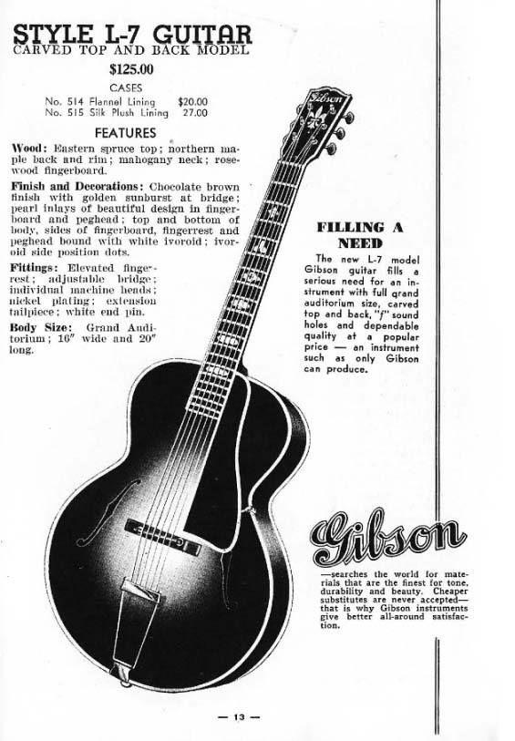 Vintage Gibson L 7 Archtop Guitar Vintage Guitars Archtop Guitar Guitar