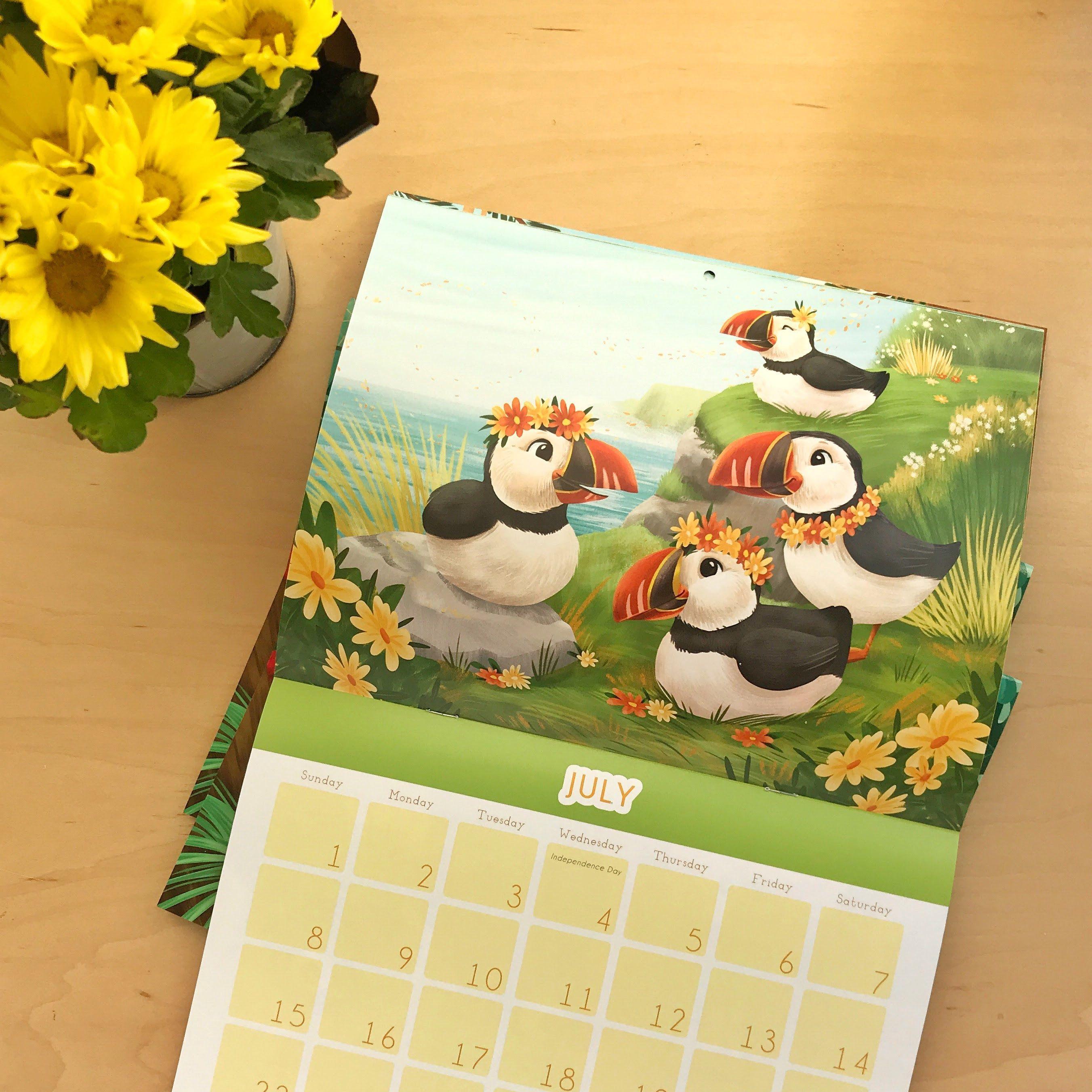 2018 Calendar - Cute Birds, adorable wall calendar, cute animal ...