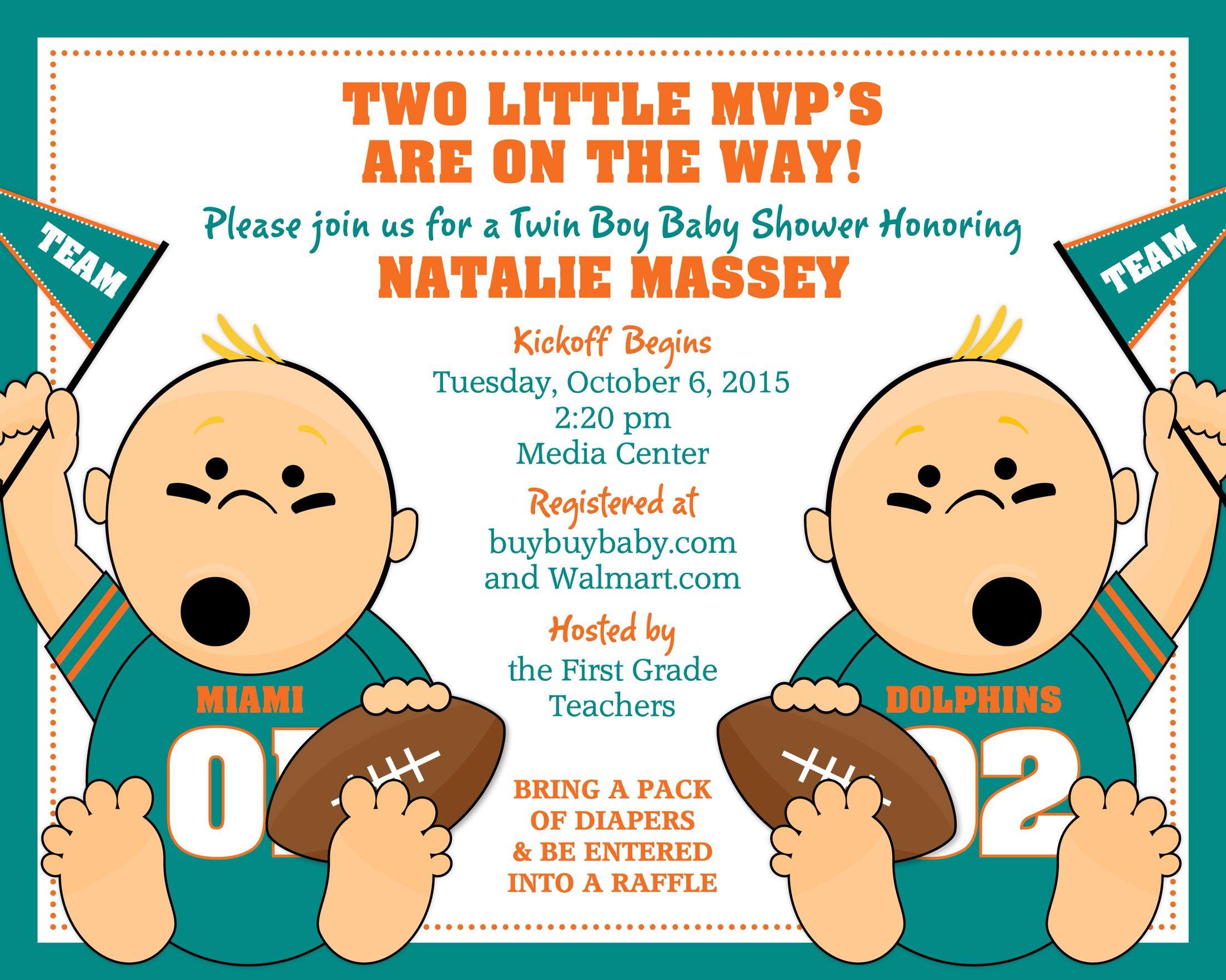 Twin boys baby shower invitation miami dolphins the twins twin boys baby shower invitation miami dolphins filmwisefo