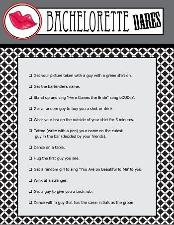 Printable Bachelorette Party Dares Is A Must Play For The Bachelorettes Last Night Out