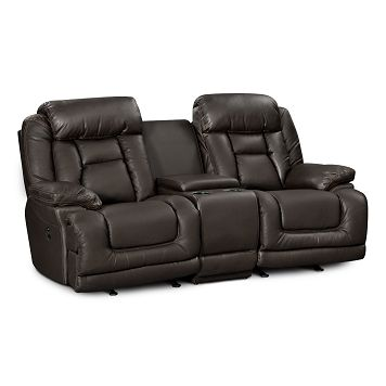 Avenger Leather Dual Power Reclining Loveseat Value City