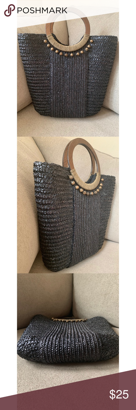 • woven straw tote bag • Textured black straw woven purse with wooden handles & beads  Fully lined & has two small slip in pockets on interior   Note- One exterior corner on bottom has some wear (as pictured) & a few beads are slightly loose Bags Totes #woodentotebag