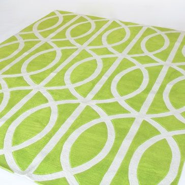Infinity Area Rug Bright Green And White Pattern