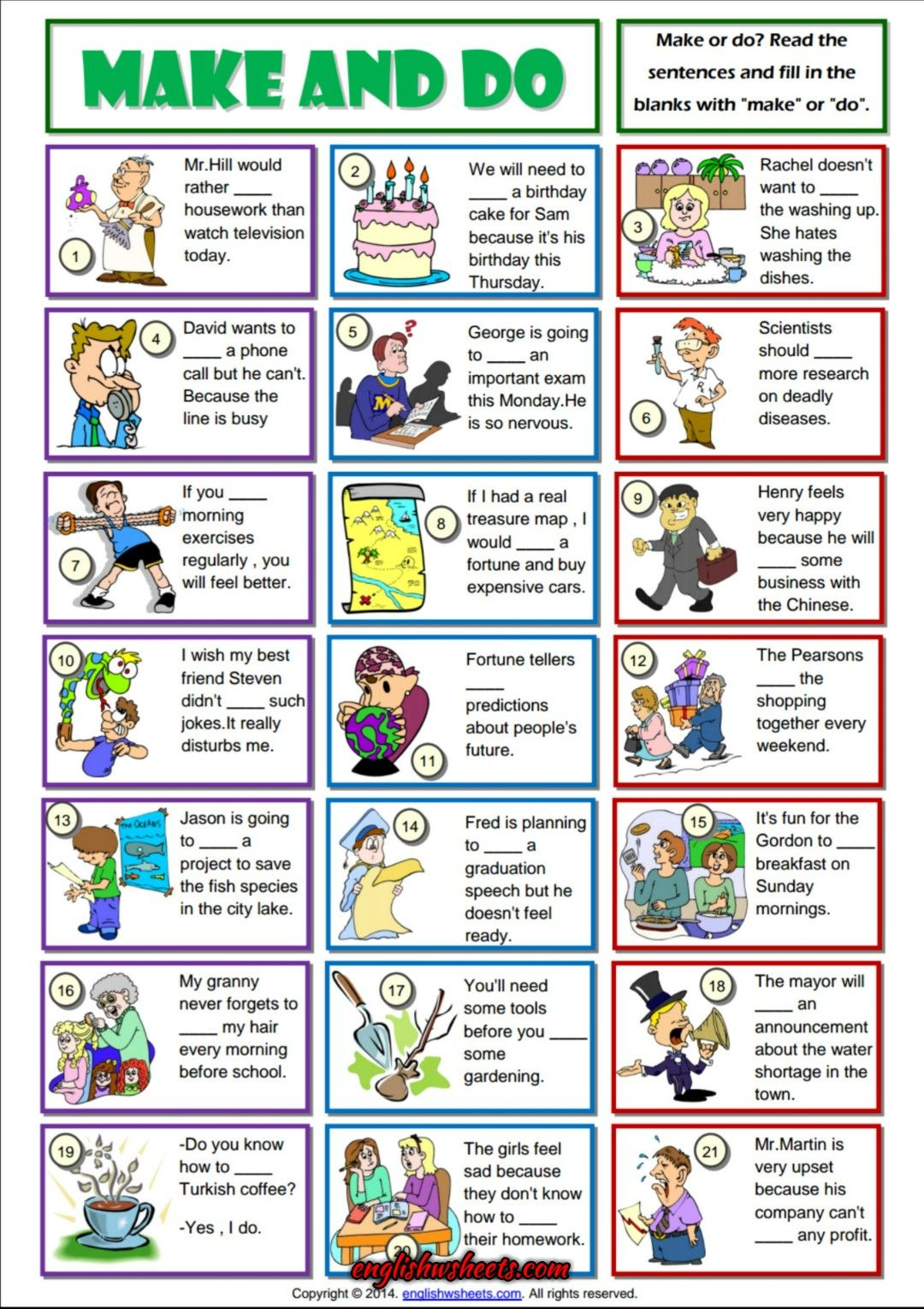 Make And Do Collocation Esl Grammar Exercise Worksheet English Lessons English Teaching Resources English Exercises [ 1529 x 1080 Pixel ]