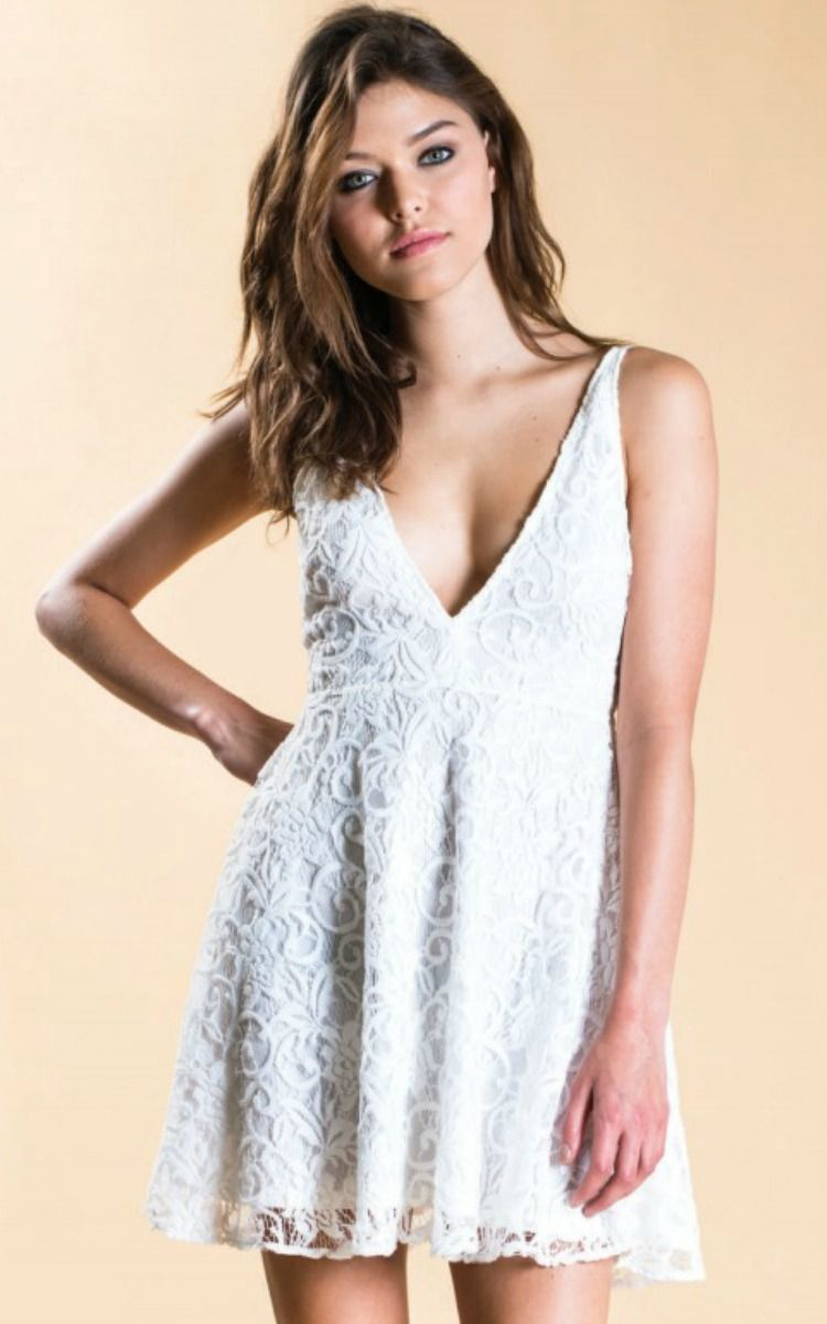 Oh My Love Lace Plunge Skater Dress Vamped Boutique