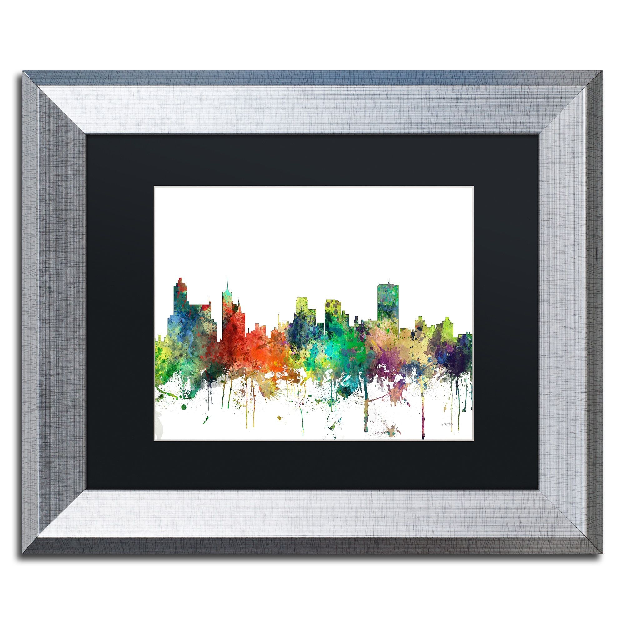 Marlene Watson \'Memphis Tennessee Skyline SP\' Matted Framed Art ...