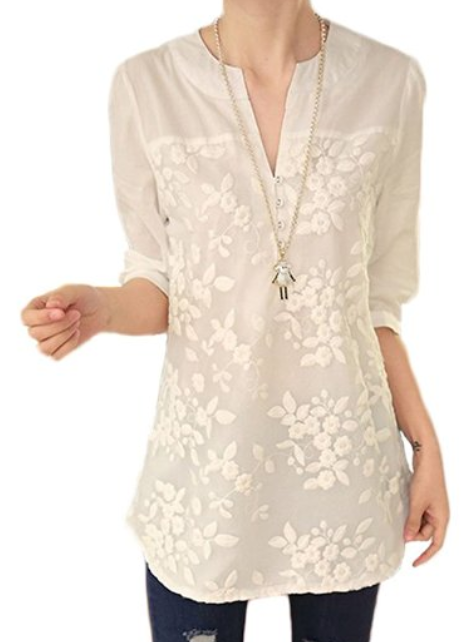 279ed7be2308a8 womens-notch-neck-floral-embroidery-shirt-tunic-top-white