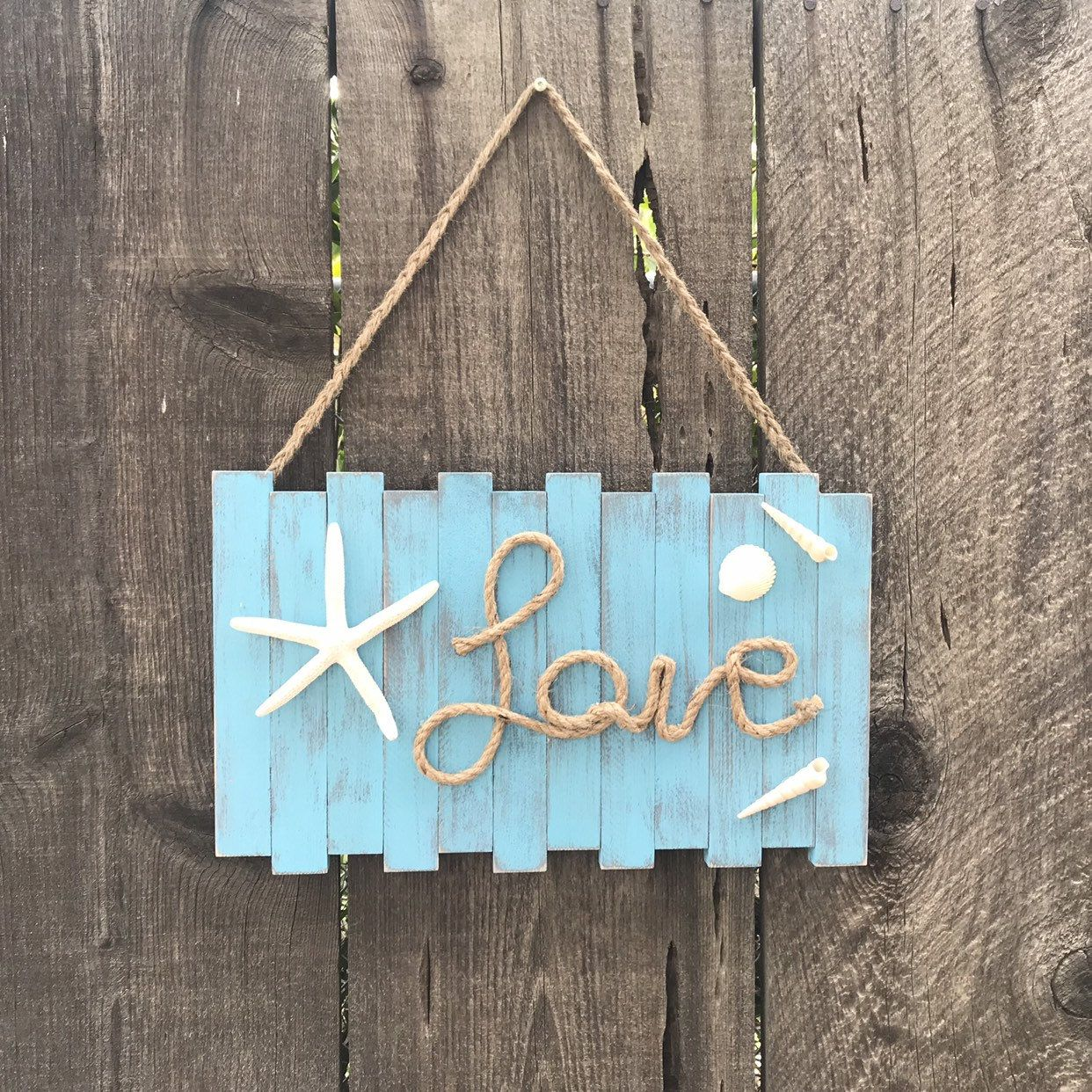 Word Love Sign Coastal Wall Decor Beach Wall Hanging With Starfish Love Quote Sign With Rope Beach Starfish Shell Love Wooden Sign Love Wooden Sign Coastal Wall Decor Beach Wall