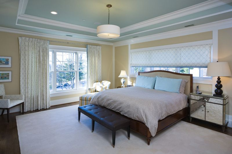 Paint Tray Ceiling And Room Ceiling The Same Color And Paint Walls A Different Color If Your Tray Run Blue Bedroom Design Tray Ceiling Bedroom Remodel Bedroom