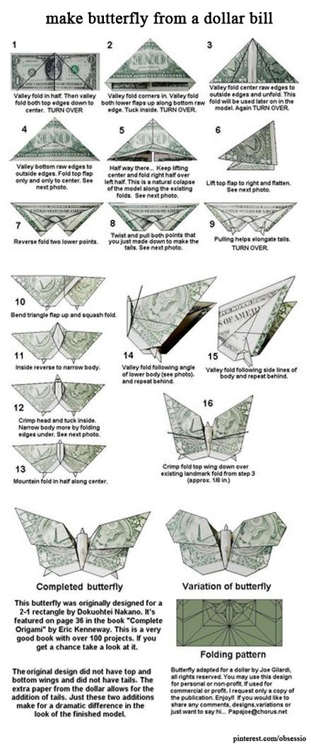 make butterfly from a dollar bill origami pinterest
