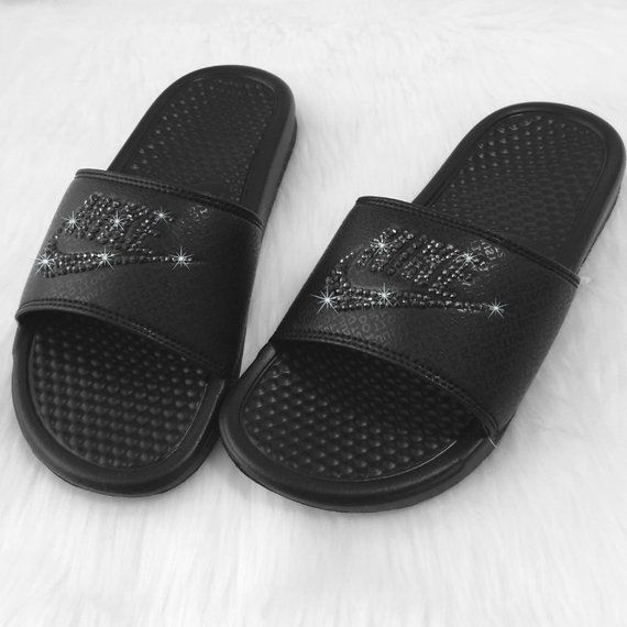 121e32375a044 Bling NIKE Slides Bedazzled ALL BLACK Sparkly Nike Sandals for Women Great  for Christmas