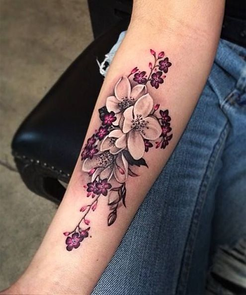 Forearm Natural Flower Tattoos for Girls
