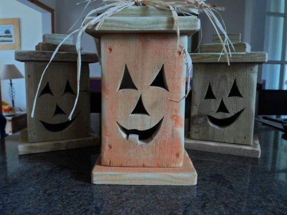 Halloween Jack O Lantern Wooden Jack O Lantern Rustic Wood Pumpkins Halloween Jack O Lanterns Halloween Lanterns