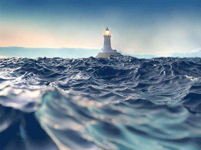 Ocean animation Peters World Pinterest Animation, Lighthouse - ocean waves animations