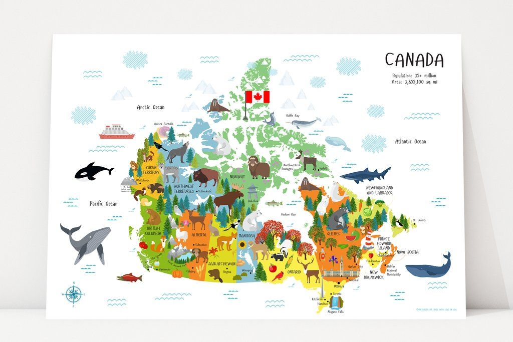 Children Map Of Canada preschool printables, map of canada, printables for kids