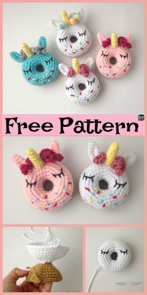 Crochet Unicorn Donut Amigurumi - Free Pattern #crochettoysanddolls