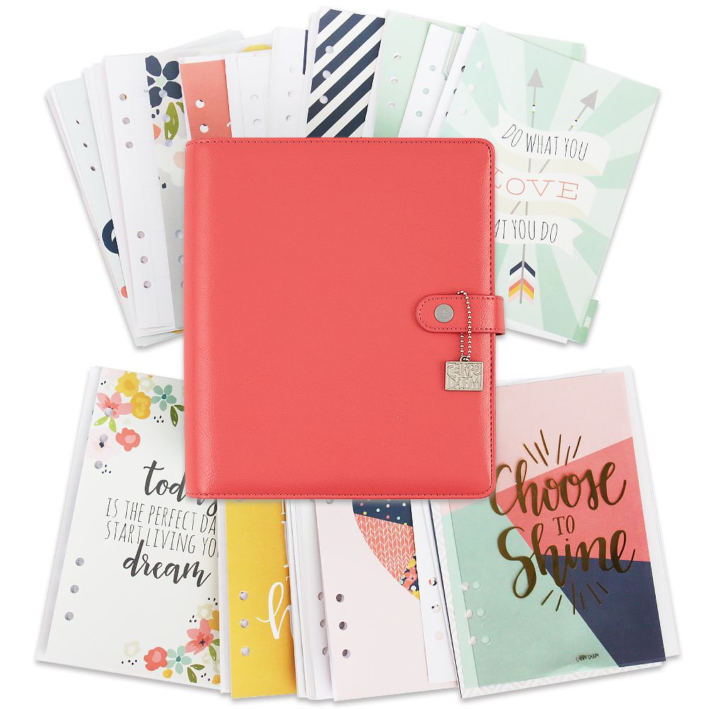 Agenda tamaño a color coral choose to shine carpe diem simple
