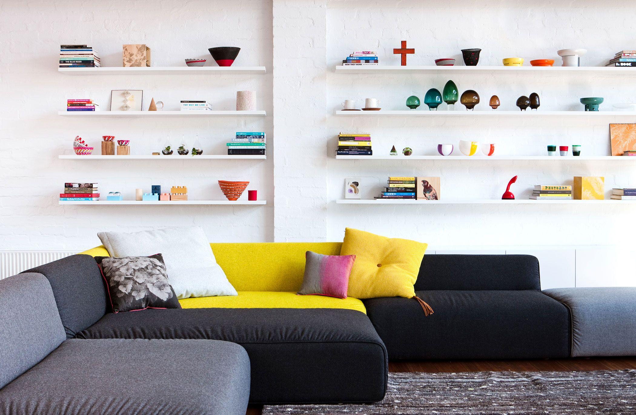 Pops of colour on the artfully arranged shelves, via # ...
