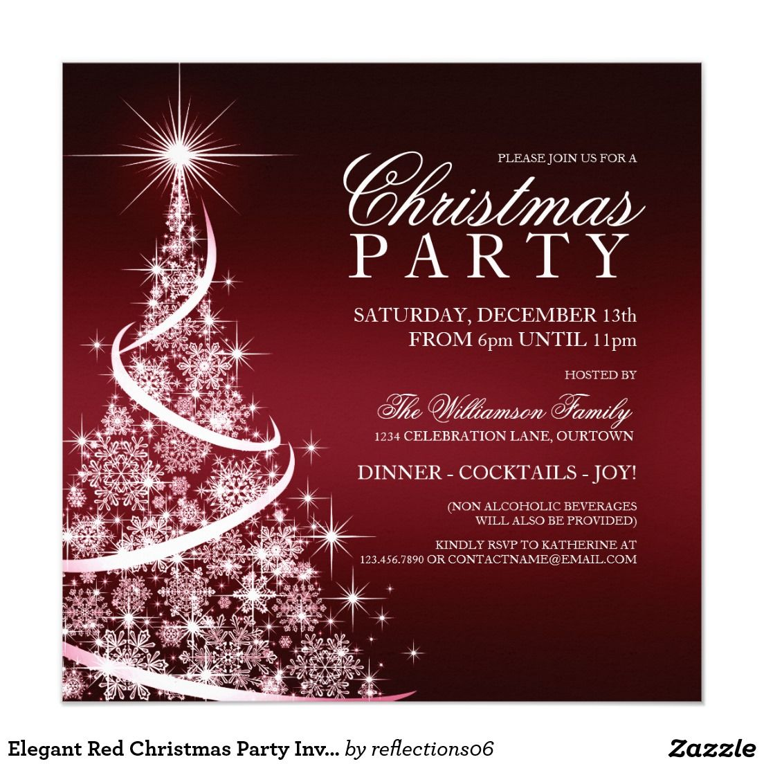 Elegant Red Christmas Party Invitation | Christmas Party Invitations ...