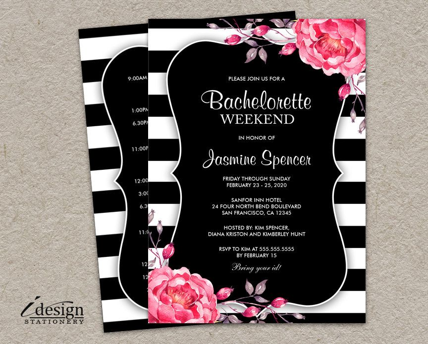 Bachelorette Weekend Invitation With Itinerary DIY Printable - bachelorette invitation template