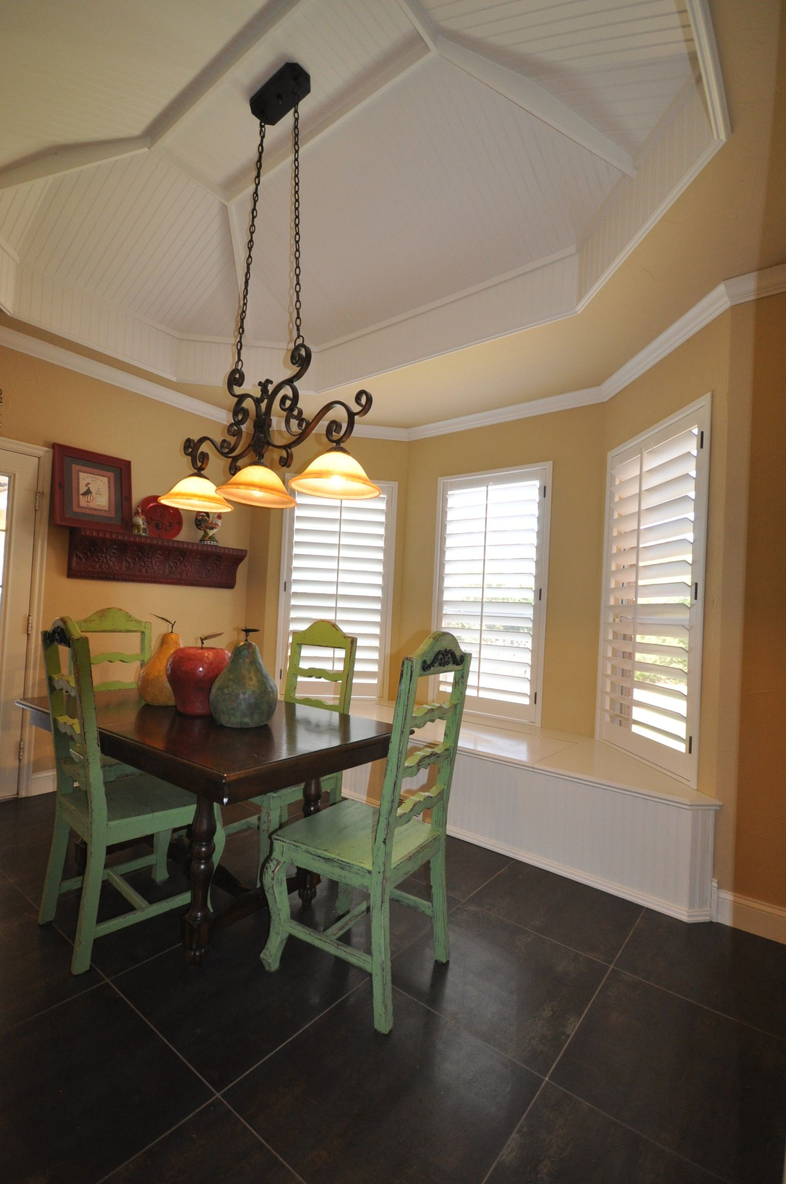battleridge shutters 4 12 louvers clear alder wood custom paint finish love the yellow yellow dining roomdining - Louvered Dining Room Decor
