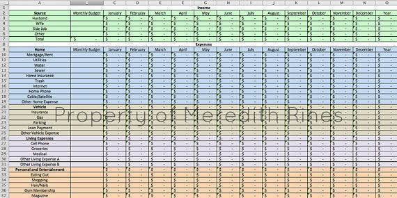 Monthly Budget Spreadsheet Home Finance Management Excel Budget