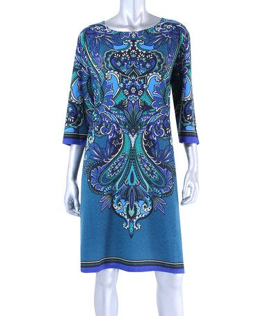 Another great find on #zulily! Royal Paisley Shift Dress - Plus by Tiana B #zulilyfinds