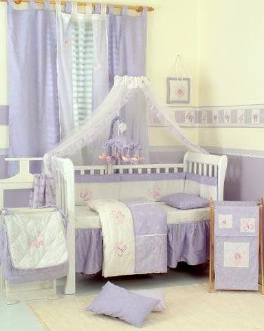New Baby Girl Bedding Sets Butterfly Pink Purple Crib Baby Crib