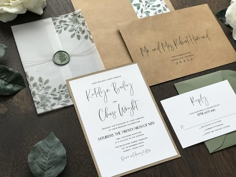 Wedding Invite RSVP Included Luxury Invitation Set Custom Invitation Pocket Wedding Invitation with Monogram Damask Pocketfold