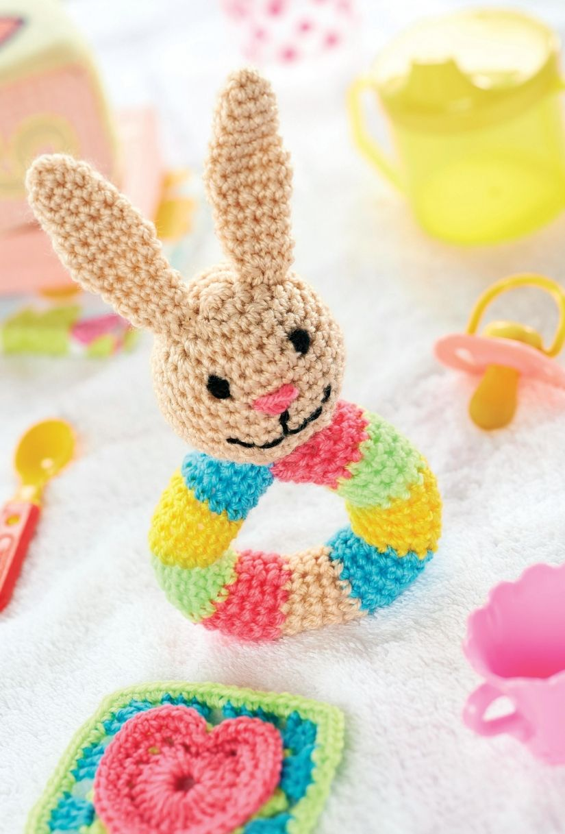 Baby bunny rattle/ baby will love this bright & colourful bunny ...
