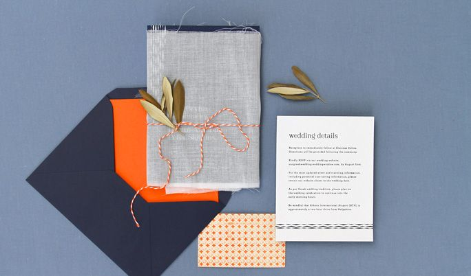 Linen Wred Wedding Invitation With Dried Olive Branch