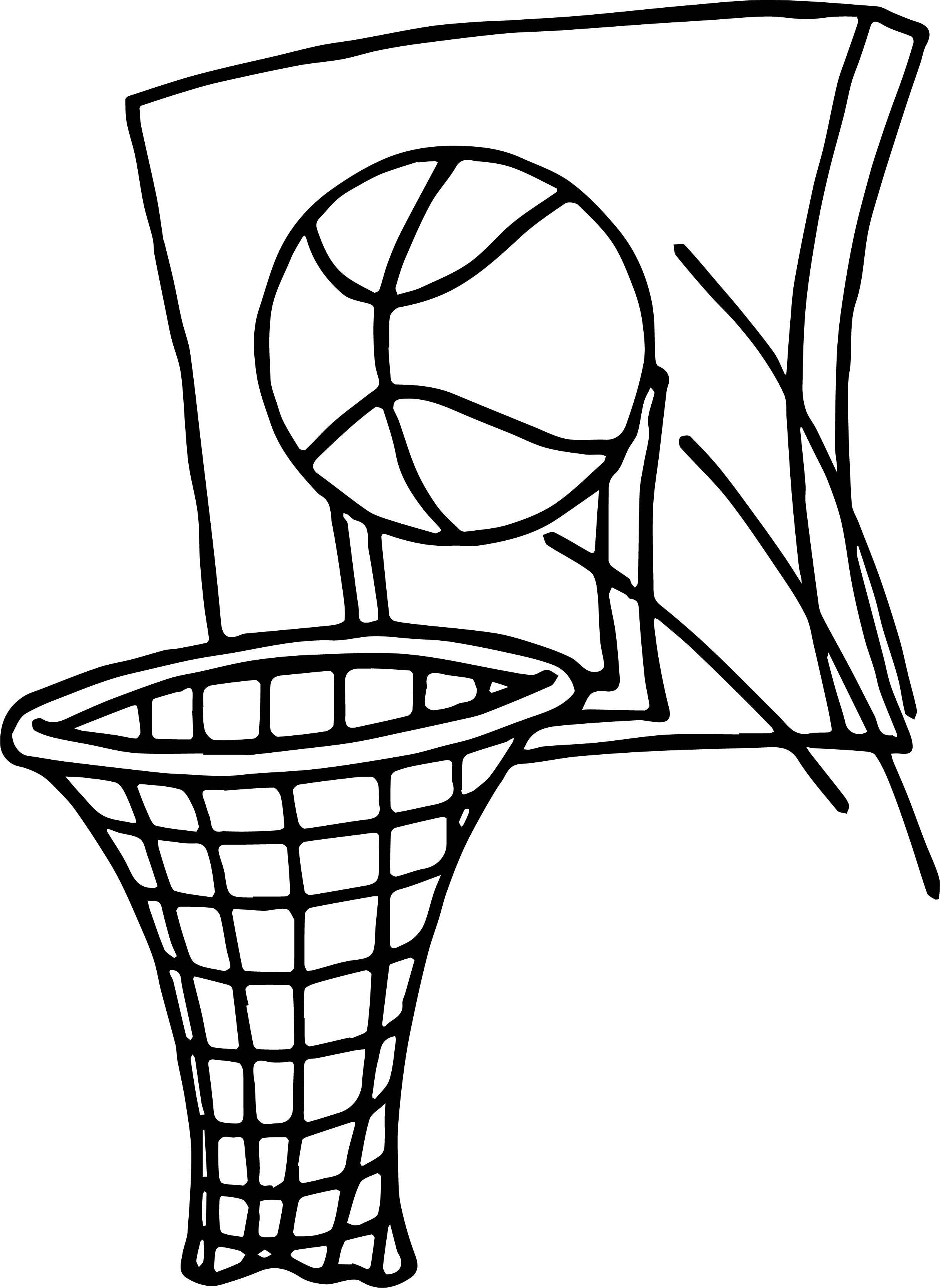 Cool Ball Shot Playing Basketball Coloring Page