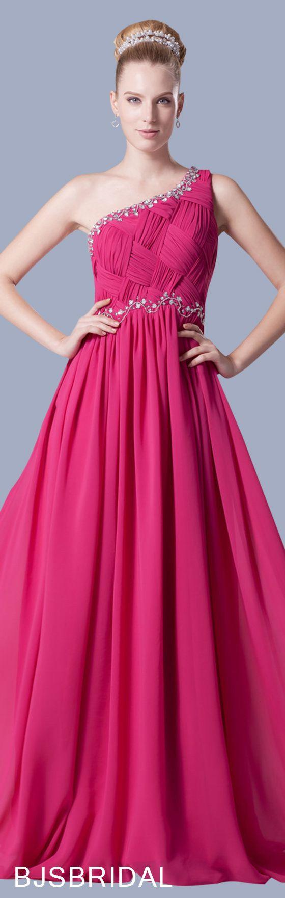 Hot pink modest aline one shoulder zip up floor length long evening