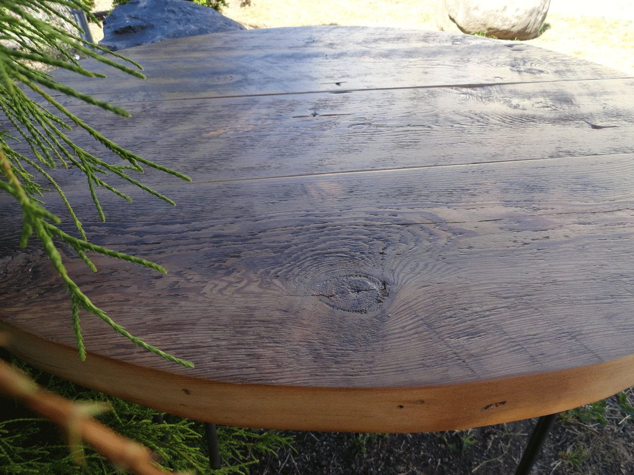Antique Barnwood Round Dining Table 24 inches by MtHoodWoodWorks $229.00 & Antique Barnwood Round Dining Table 24 inches by MtHoodWoodWorks ...