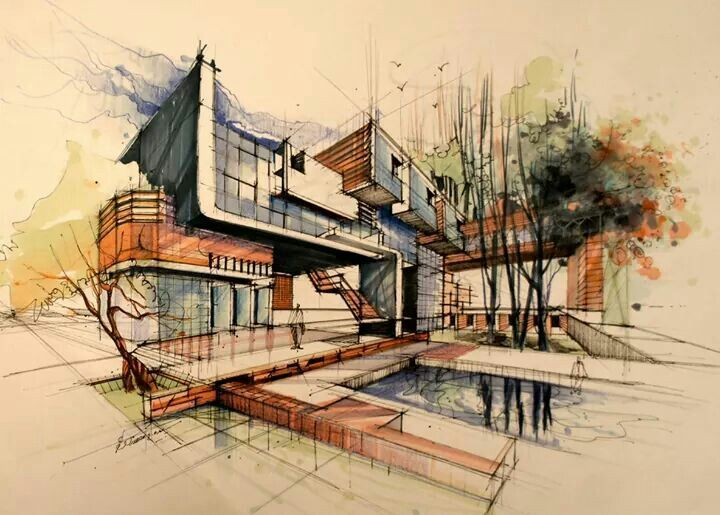 Modern Architecture Drawing pinsorour dehghani on arch-presentation | pinterest | sketches