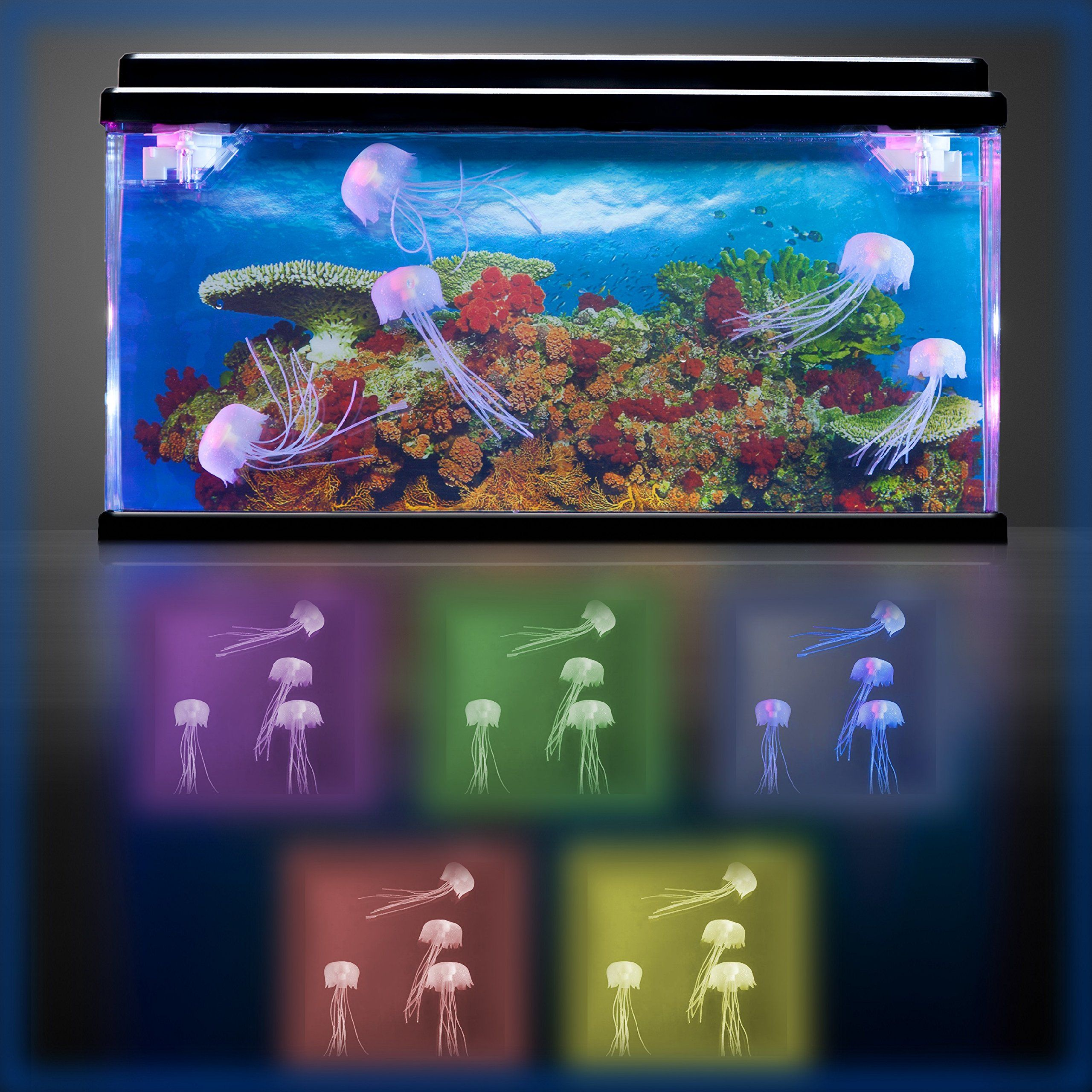 Moving Jelly Fish Tank with LED lights 3D backing STUNNING
