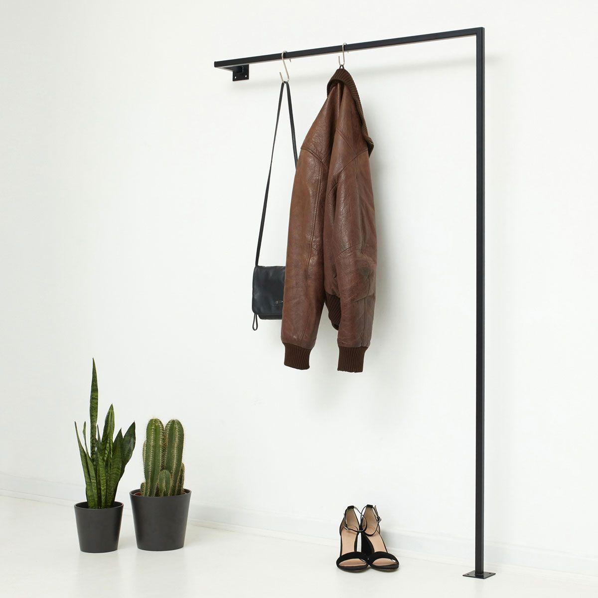 Minimalist coat rack made of steel