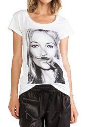 Women's Short-sleeved T-shirt Fashion White T-shirt Kate Ann Moss Pattern T-shirt at Amazon Women's Clothing store:
