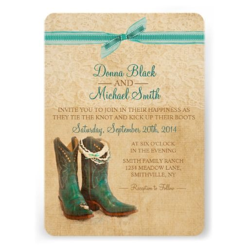 Cowboy Boots and Lace Wedding Invitation
